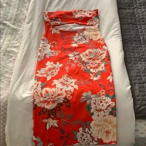 Misguided strapless flower orange dress